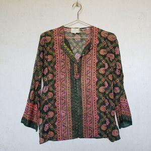 Green boho hippie Indian kurti tunic top blouse